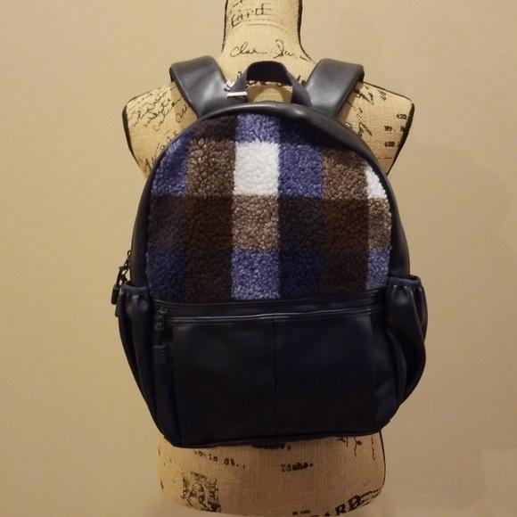 Mossimo Supply Co. Handbags - Mossimo navy blue backpack fleece plaid Rack:5:518